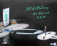 """Mike Modano Signed Stars Retired Number Banner Ceremony 16x20 Photo Inscribed """"#9 Retired 3-8-14"""" (Beckett COA) at PristineAuction.com"""