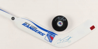 Lot of (2) Cam Talbot Signed Hockey Items with Rangers Hockey Puck & Rangers Mini Hockey Stick (Talbot COA) at PristineAuction.com