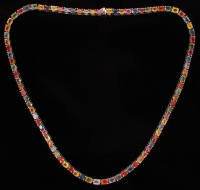 Ladies Multi-Color Sapphire Tennis Necklace  (UGL Appraisal) at PristineAuction.com