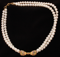 22Kt Freshwater Cultured Pearl Necklace with Panther Head Enhancers (UGL Appraisal) at PristineAuction.com