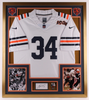 Walter Payton Signed Bears 32x36 Custom Framed Cut Display with Super Bowl XX Champions Pin (PSA) at PristineAuction.com