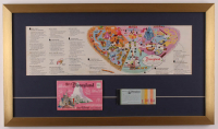 Disneyland 16.5x28..5 Custom Framed 1959 Original Map Display with Vintage Ticket Booklet & Postcard Pack at PristineAuction.com