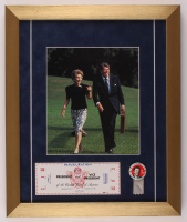 Ronald Reagan 15x18 Custom Framed Photo Display with Inauguration Ticket & Vintage Pin at PristineAuction.com