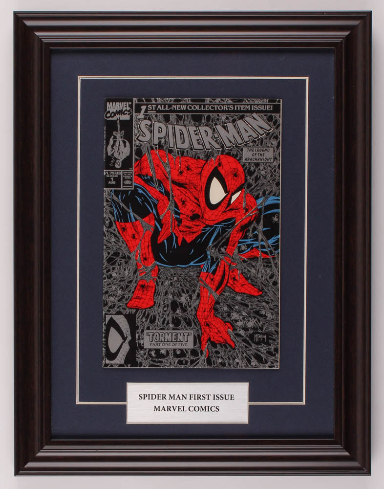 """Vintage 1990 'Spider-Man"""" Issue #1 13.5x17.5 Custom Framed Marvel First Issue Comic Book at PristineAuction.com"""