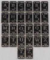 Lot of (26) .999 Fine Silver (1) Gram Alphabet Design Bullion Bars at PristineAuction.com