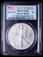 2011-(W) American Silver Eagle $1 One Dollar Coin - First Strike, US Mint-Sealed Box #8 (PCGS MS70) (U.S. Flag Label) at PristineAuction.com