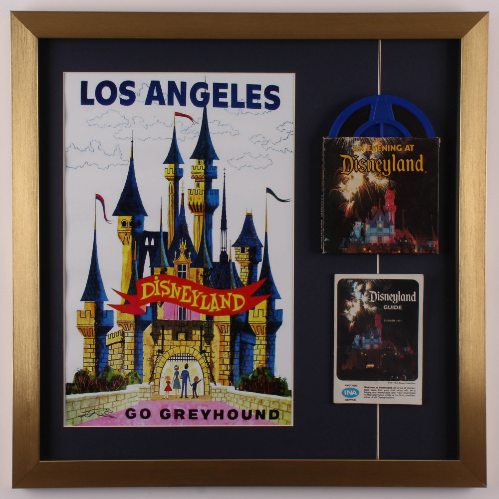 Disneyland 21.5x21.5 Custom Framed Print Display with Vintage Film Reel & Guide at PristineAuction.com