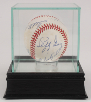 OAL Baseball Signed by (7) with Ted Williams, Joe DiMaggio, Pee Wee Reese, Carl Yastrzemski, Lefty Gomez, Jocko Conlan with High Quality Display Case (PSA COA) at PristineAuction.com