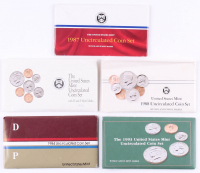 Lot of (5) United States Mint Uncirculated Coin Sets with 1984, 1987, 1988, 1992, & 1993 at PristineAuction.com