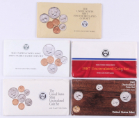 Lot of (5) United States Mint Uncirculated Coin Sets with 1985, 1987, 1989, 1990, & 1992 at PristineAuction.com
