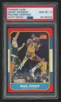 Magic Johnson Signed 1986-87 Fleer #53 (PSA Encapsulated) at PristineAuction.com