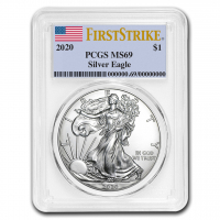 2020 American Silver Eagle $1 One Dollar Coin - First Strike, U.S. Flag Label (PCGS MS69) at PristineAuction.com
