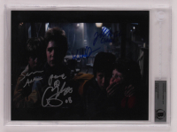 """The Goonies"" 8x10 Photo Cast-Signed by (4) with Sean Astin, Jeff Cohen, Corey Feldman & Ke Huy Quan Inscribed ""Peace"" & ""Chunk""  (BGS Encapsulated) at PristineAuction.com"