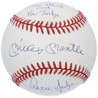"Mickey Mantle & Aaron Judge Signed OML Baseball Inscribed ""The Mick and the Judge"" (Beckett LOA & Fanatics Hologram) at PristineAuction.com"