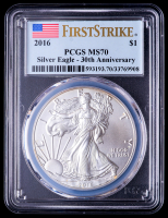 2016 American Silver Eagle $1 One Dollar Coin - First Strike, 30th Anniversary (PCGS MS70) (U.S. Flag Label) at PristineAuction.com