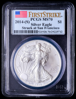 2014-(S) American Silver Eagle $1 One Dollar Coin - First Strike, Struck at San Francisco (PCGS MS70) (U.S. Flag Label) at PristineAuction.com