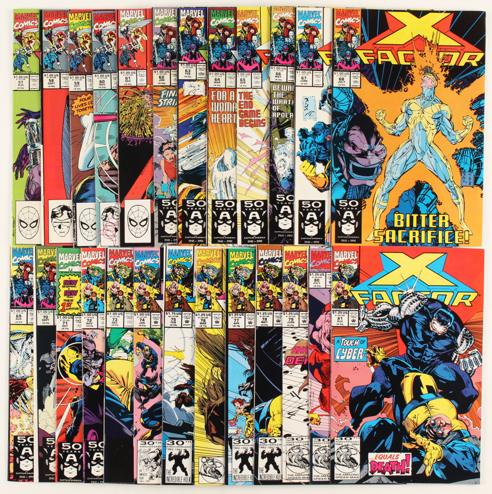 """Lot of (25) 1990 """"X-Factor"""" Issues #57-81 Marvel Comic Book at PristineAuction.com"""