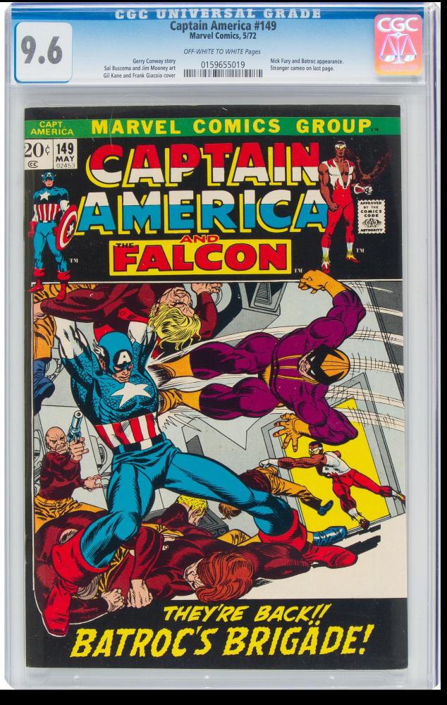 "1972 ""Captain America"" Issue #149 Marvel Comic Book (CGC 9.6) at PristineAuction.com"