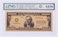 "1934 $100,000 One Hundred Thousand Dollars ""Smithsonian Edition"" Gold Certificate - Woodrow Wilson (PMG Gem Uncirculated) at PristineAuction.com"