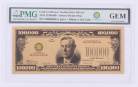 """1934 $100,000 One Hundred Thousand Dollars """"Smithsonian Edition"""" Gold Certificate - Woodrow Wilson (PMG Gem Uncirculated) at PristineAuction.com"""