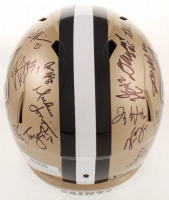 2019 Saints Full-Size Helmet Signed by (31) with Sean Payton, Drew Brees, Marshon Lattimore, Cameron Jordan, Taysom Hill, Marcus Davenport, Latavius Murray (Beckett LOA) at PristineAuction.com