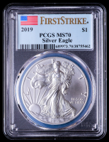 2019 American Silver Eagle $1 One Dollar Coin - First Strike (PCGS MS70) (U.S. Flag Label) at PristineAuction.com