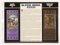 Super Bowl XXXII Commemorative Score Card with 22kt Gold Ticket at PristineAuction.com
