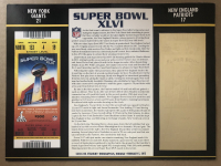 Super Bowl XLVI Commemorative Score Card with 22kt Gold Ticket at PristineAuction.com
