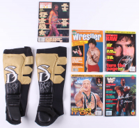 Lot of (5) Wrestling Magazines & (1) Pair of Kick Pads Signed by (6) with Jake the Snake Roberts, Ted Dibiase, Tatanka, Kurt Angle, Mick Foley, & Sanjay Dutt (JSA ALOA) at PristineAuction.com