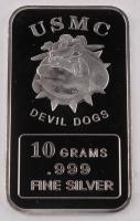 10 Grams .999 Fine Silver U.S. Marine Corp. Devil Dogs Bullion Bar at PristineAuction.com