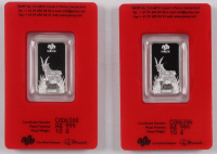 Lot of (2) Certified PAMP 2015 Year of the Goat .999 Fine Silver 10 Gram Bars at PristineAuction.com