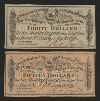 Lot of (2) Confederate States of America Richmond CSA Bank Note Bonds with (1) 1885 $30 Thirty-Dollar Note & (1) 1868 $15 Fifteen-Dollar Note at PristineAuction.com