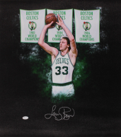 Larry Bird Signed Celtics 23x24 Photo On Canvas (JSA COA) at PristineAuction.com