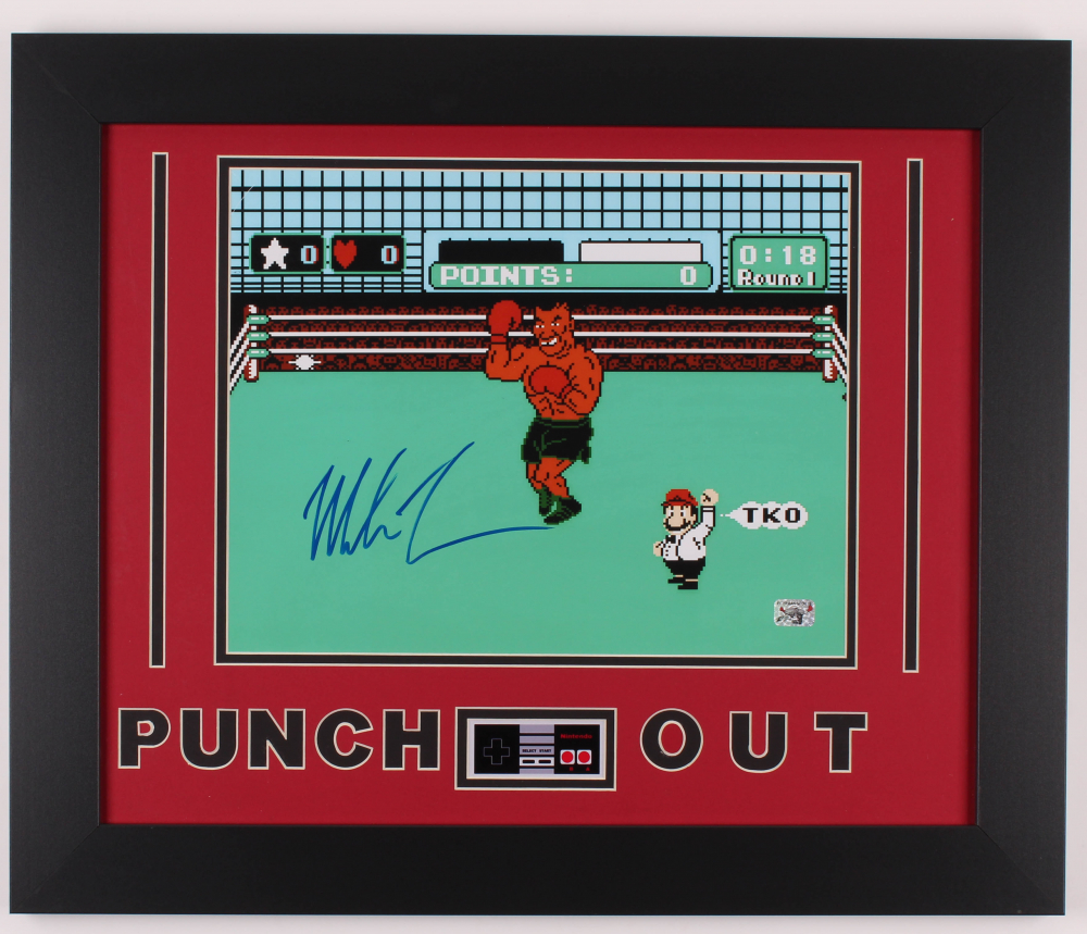 """Mike Tyson Signed """"Punch-Out!!"""" 19.5x23.5 Custom Framed Photo Display with Nintendo Controller Photo (Fiterman Hologram) at PristineAuction.com"""