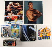 Lot of (6) WWE Signed Items with (1) Ric Flair, (2) Lex Luger, (1) Bruno Sammartino, Mick Foley, Seth Rollins & (1) Unsigned Seat Cushion (JSA COA) at PristineAuction.com