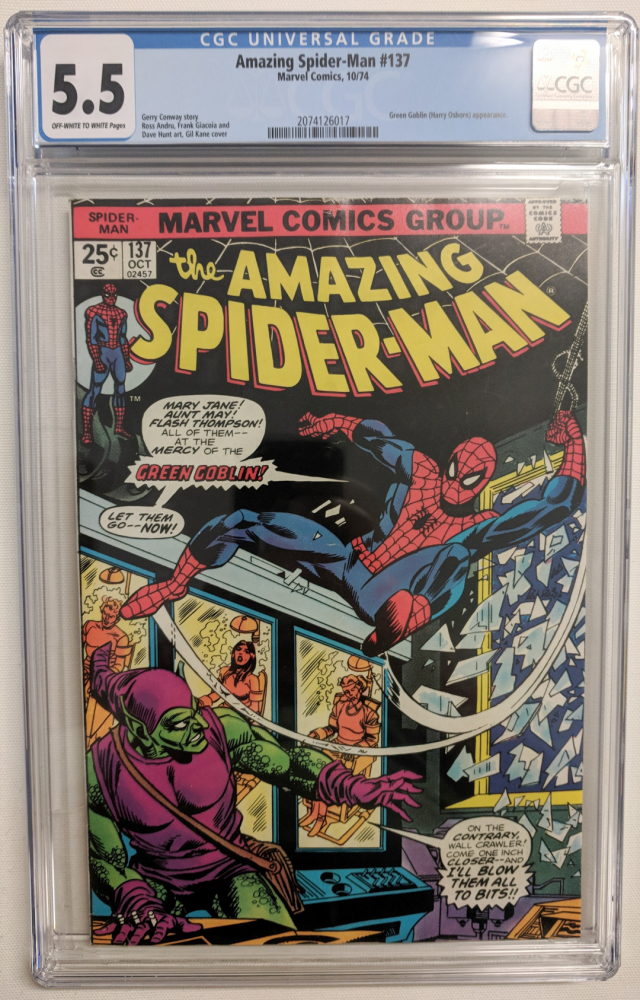 """1974 """"The Amazing Spider-Man"""" Issue #137 Marvel Comic Book (CGC 5.5) at PristineAuction.com"""
