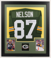 Jordy Nelson Signed 31x35 Custom Framed Jersey Display (Beckett COA) at PristineAuction.com