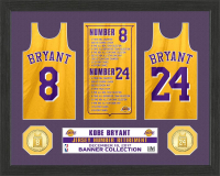 "Kobe Bryant Lakers ""Jersey Number Retirement"" 12x15 Custom Framed Highland Mint Banner & Bronze Coin Display at PristineAuction.com"