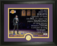 "Kobe Bryant Lakers ""Jersey Number Retirement"" 13x16 Custom Framed LE Highland Mint Bronze Coin Display at PristineAuction.com"