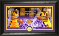 "Kobe Bryant Lakers ""Jersey Number Retirement"" 12x20 Custom Framed LE Highland Mint Bronze Coin Display at PristineAuction.com"