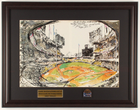 "LeRoy Neiman ""Sandy Koufax Strikes Out 15"" 19.5x25 Custom Framed Print Display with 1963 World Series Pin at PristineAuction.com"