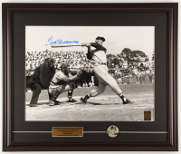 Ted Williams Signed Red Sox 21.5x25.5 Custom Framed Photo Display with 1950's Original Pin-Back (Williams COA) at PristineAuction.com