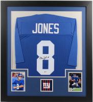 Daniel Jones Signed 31x35 Custom Framed Jersey (Beckett Hologram) at PristineAuction.com