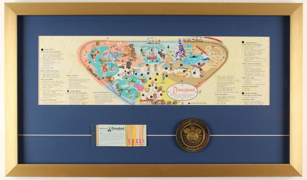 Disneyland 16.5x28..5 Custom Framed 1959 Original Map Display with Vintage Ticket Booklet & Disneyland Brass Emblem at PristineAuction.com