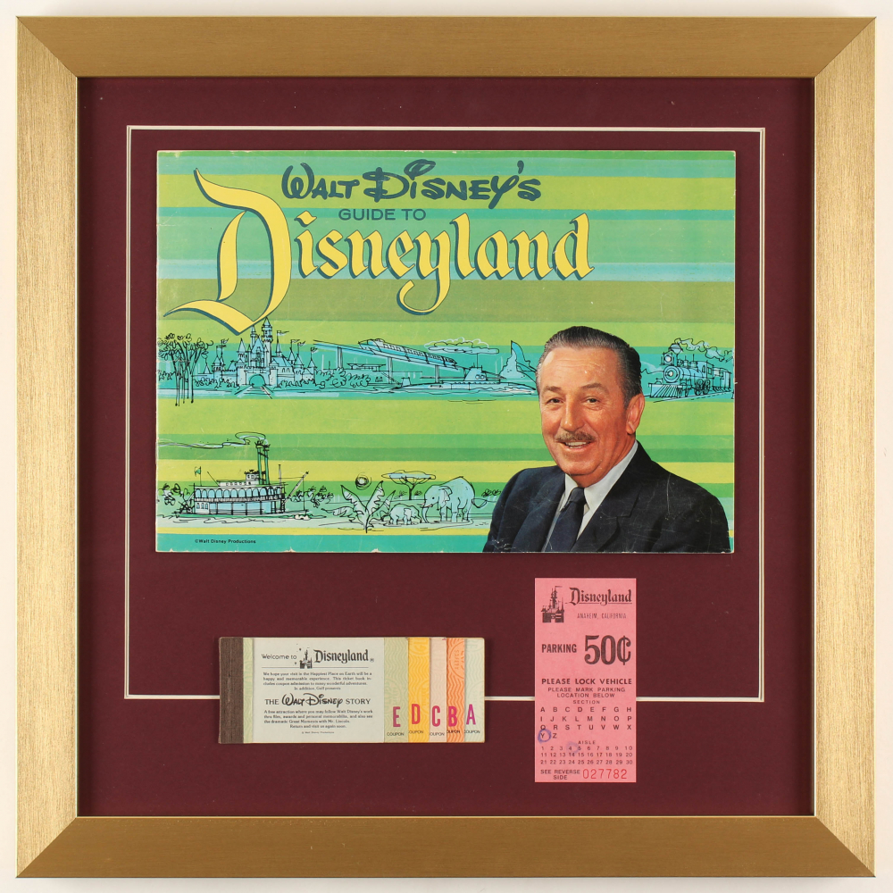 "Walt Disney's ""Disneyland"" 17x17 Custom Framed 1964 Original Guide Display with Vintage Ticket Booklet & Parking Pass at PristineAuction.com"