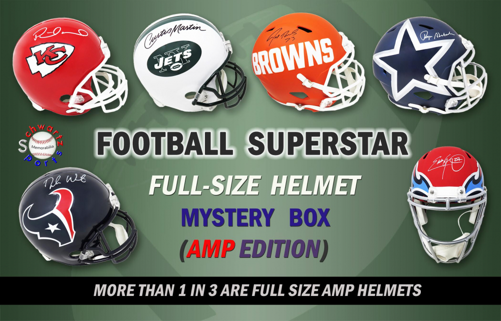 Schwartz Sports Football Superstar Signed Full-Size Football Helmet Mystery Box AMP EDITION - Series 10 (Limited to 100) at PristineAuction.com