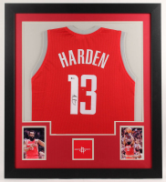 James Harden Signed 31x35 Custom Framed Jersey (Beckett COA) at PristineAuction.com