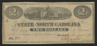 1863 $2 Two Dollars State of North Carolina, Raleigh Bank Note at PristineAuction.com