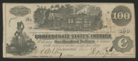 1861 $100 One Hundred Dollars Confederate States of America Richmond CSA Bank Note Bill at PristineAuction.com
