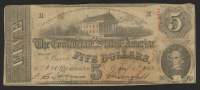 1863 $5 Five Dollars Confederate States of America Richmond CSA Bank Note Bill at PristineAuction.com